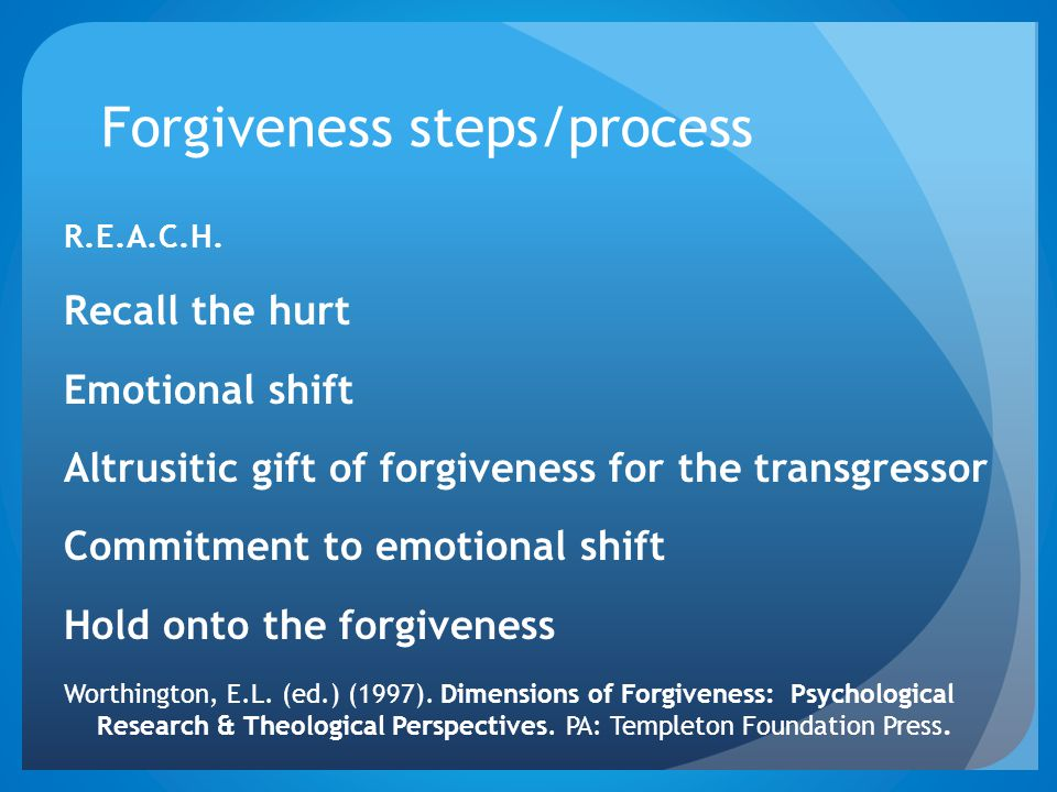 Forgiveness steps/process