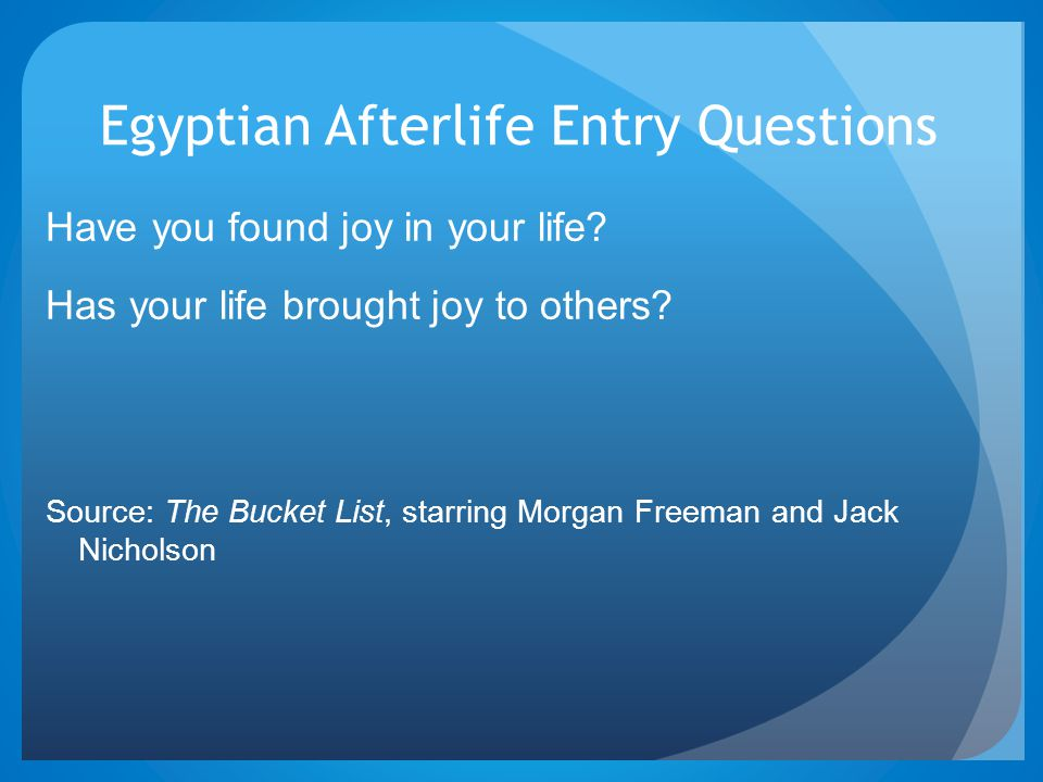Egyptian Afterlife Entry Questions