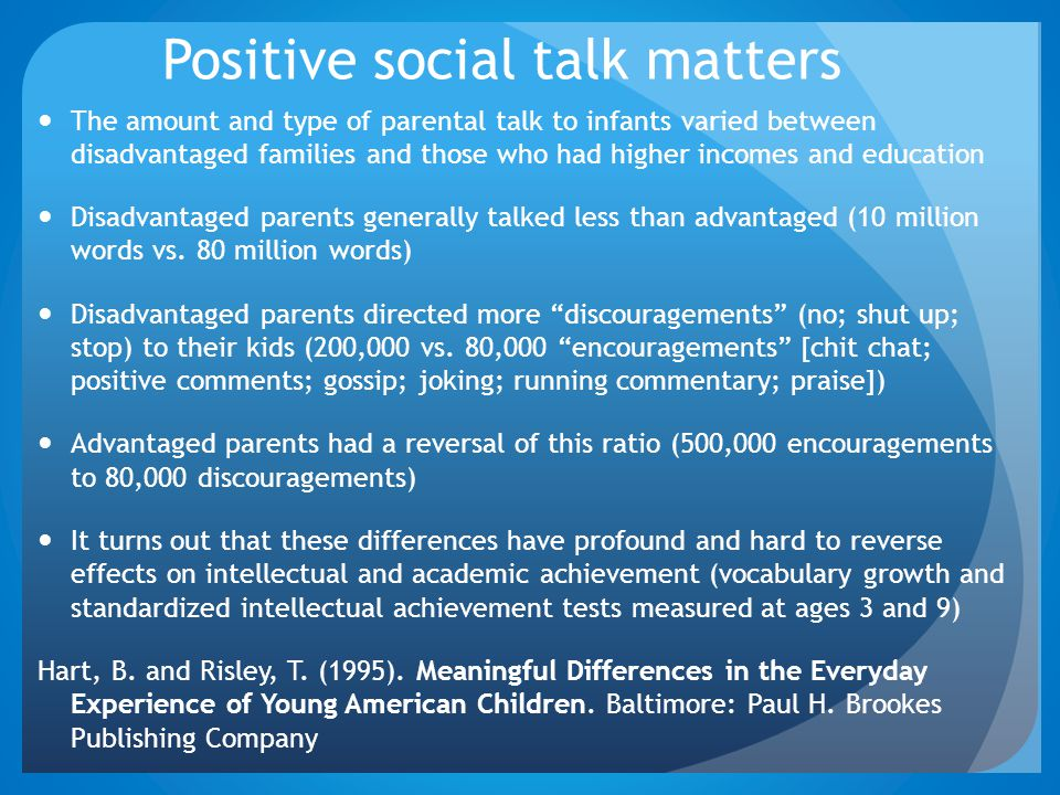 Positive social talk matters