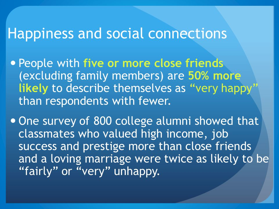 Happiness and social connections