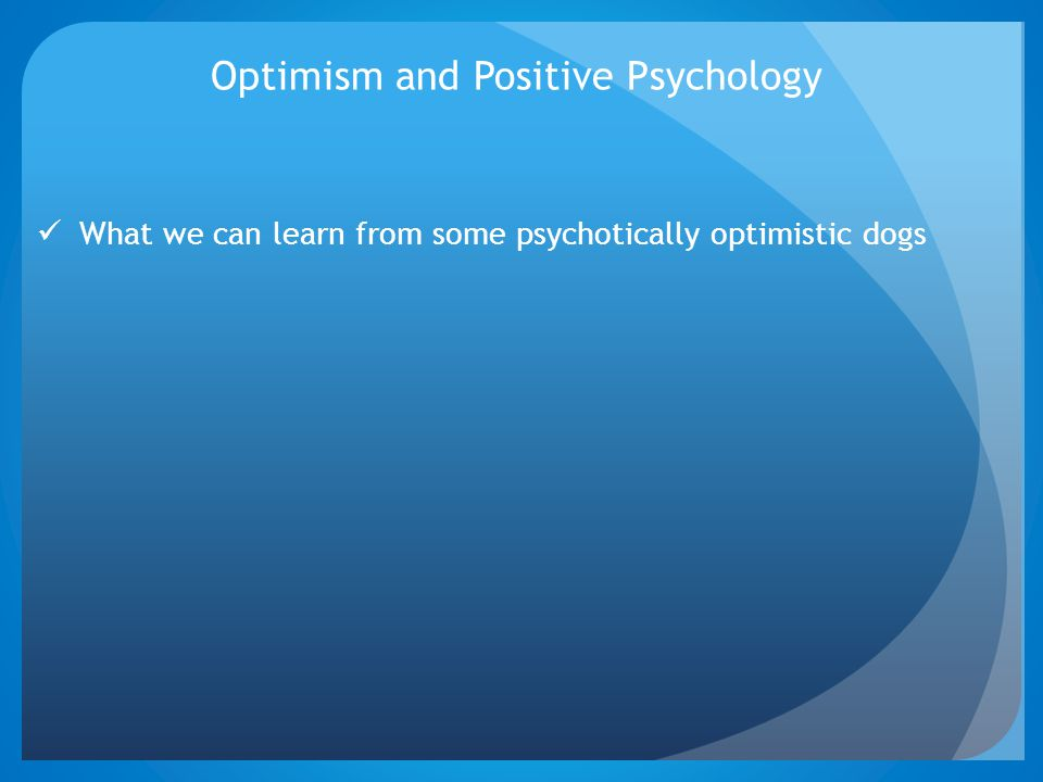 Optimism and Positive Psychology