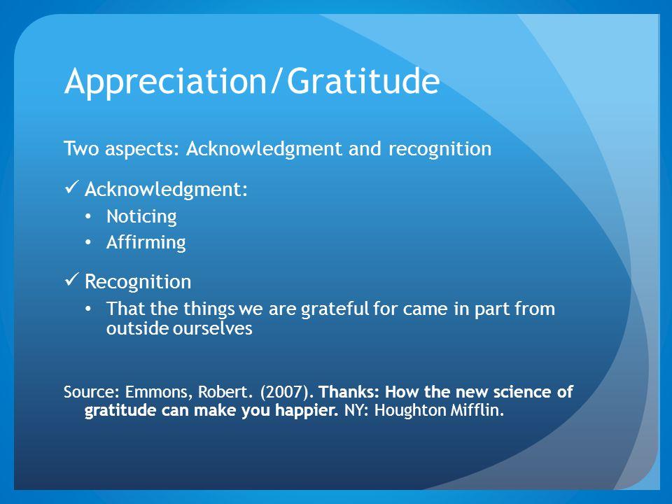 Appreciation/Gratitude