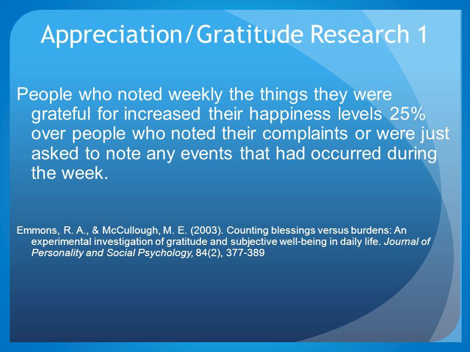 Appreciation/Gratitude Research 1