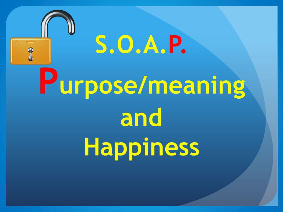 S.O.A.P. Purpose/meaning and Happiness