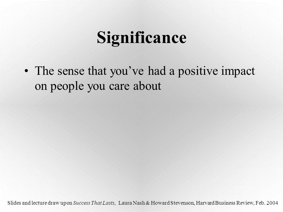 Significance The sense that you've had a positive impact on people you care about.