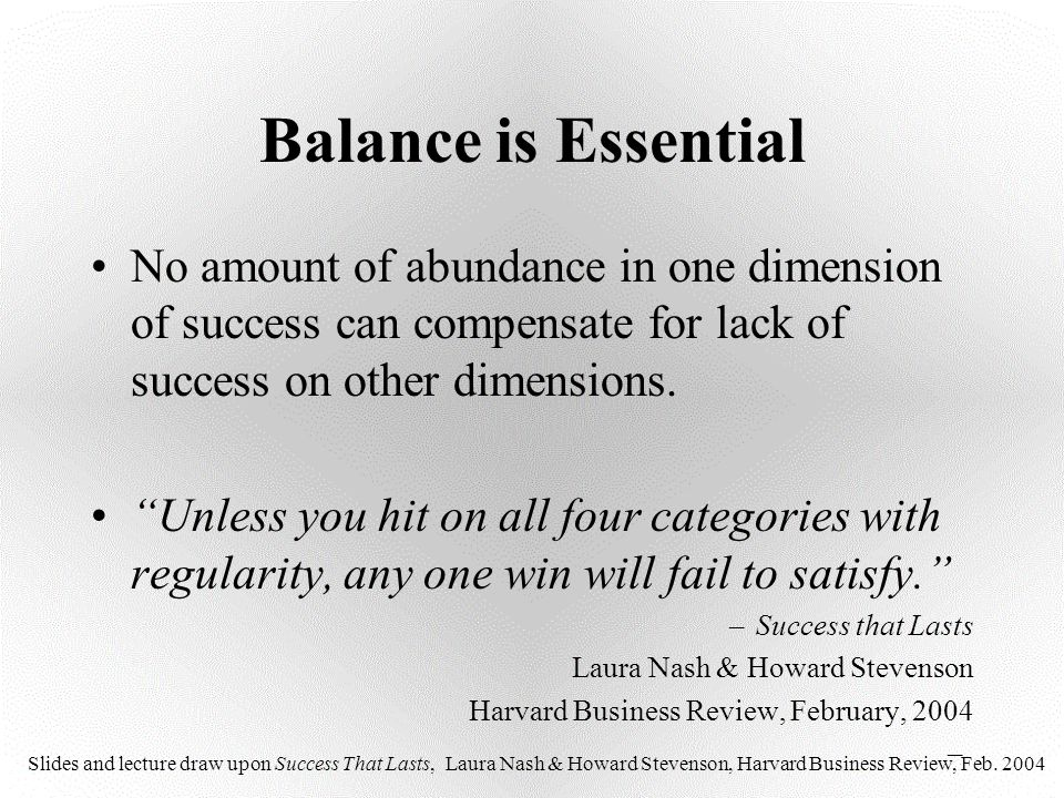 Balance is Essential No amount of abundance in one dimension of success can compensate for lack of success on other dimensions.
