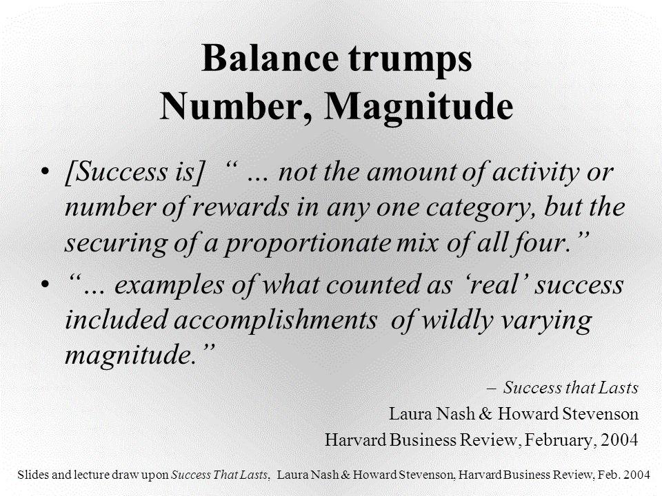 Balance trumps Number, Magnitude