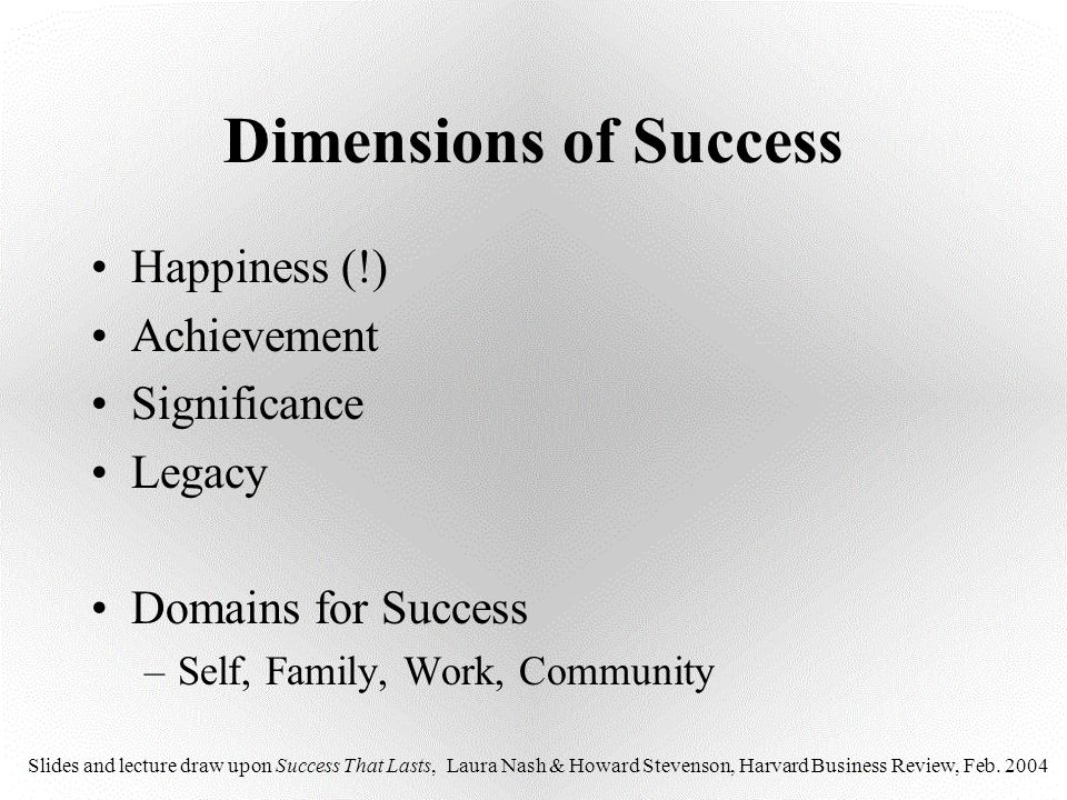 Dimensions of Success Happiness (!) Achievement Significance Legacy