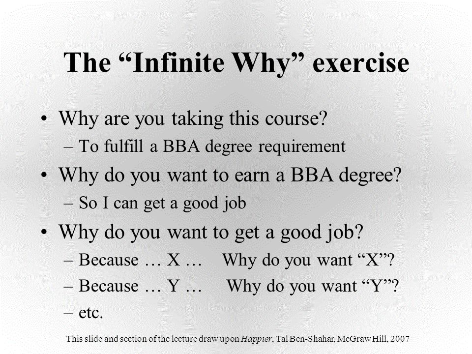 The Infinite Why exercise