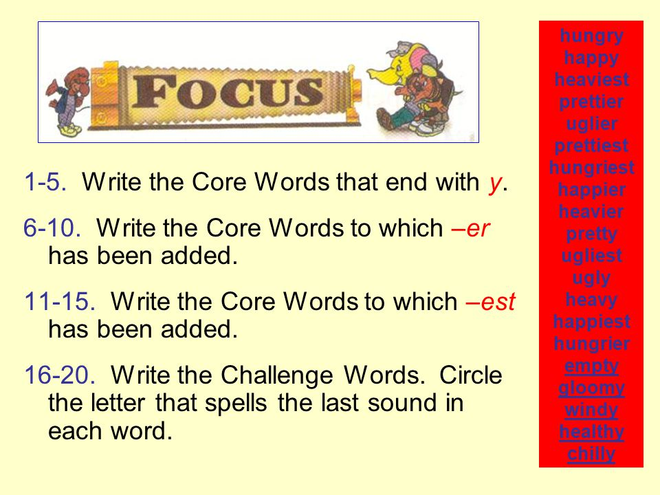 1-5. Write the Core Words that end with y.