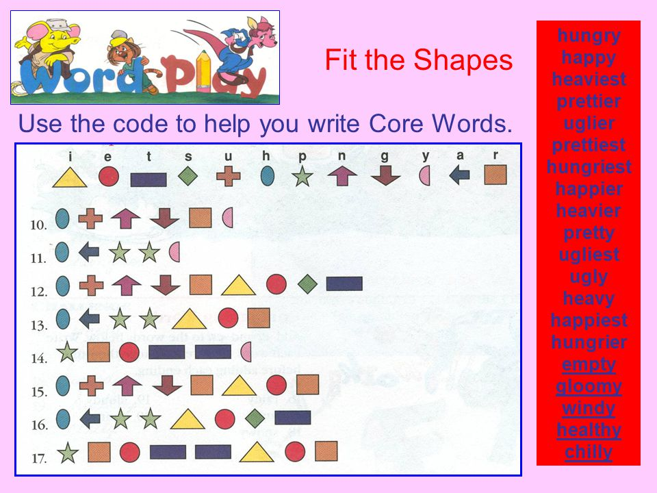 Fit the Shapes Use the code to help you write Core Words. hungry happy