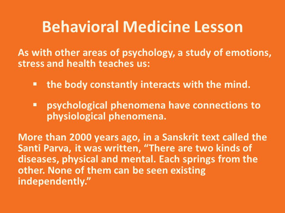 Behavioral Medicine Lesson