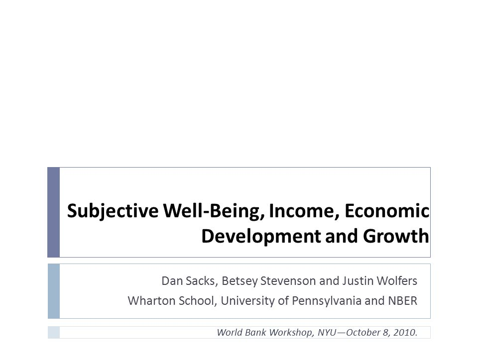 Subjective Well-Being, Income, Economic Development and Growth