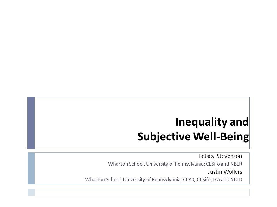 Inequality and Subjective Well-Being