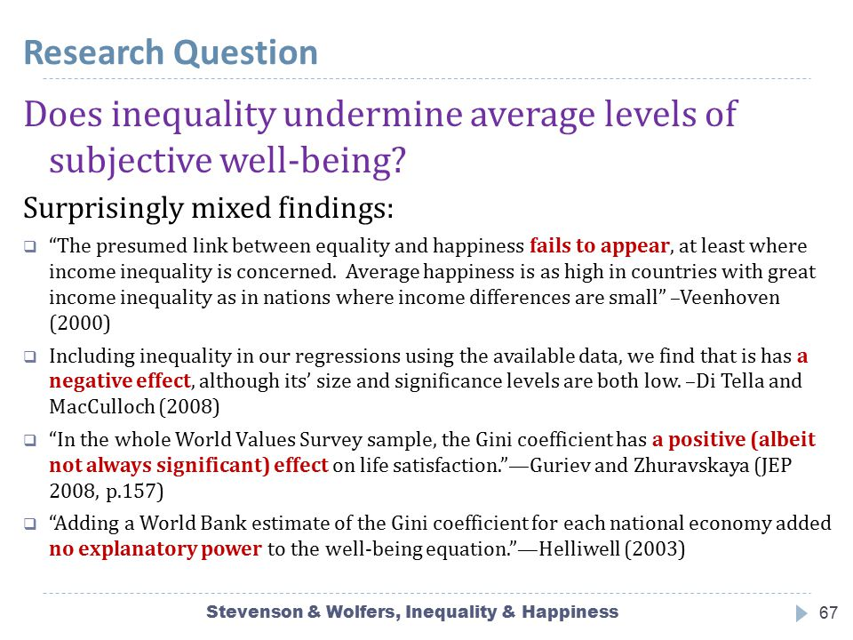 Stevenson & Wolfers, Inequality & Happiness