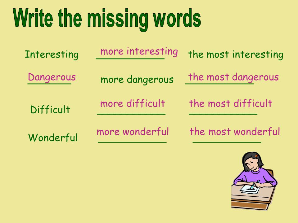 Write the missing words