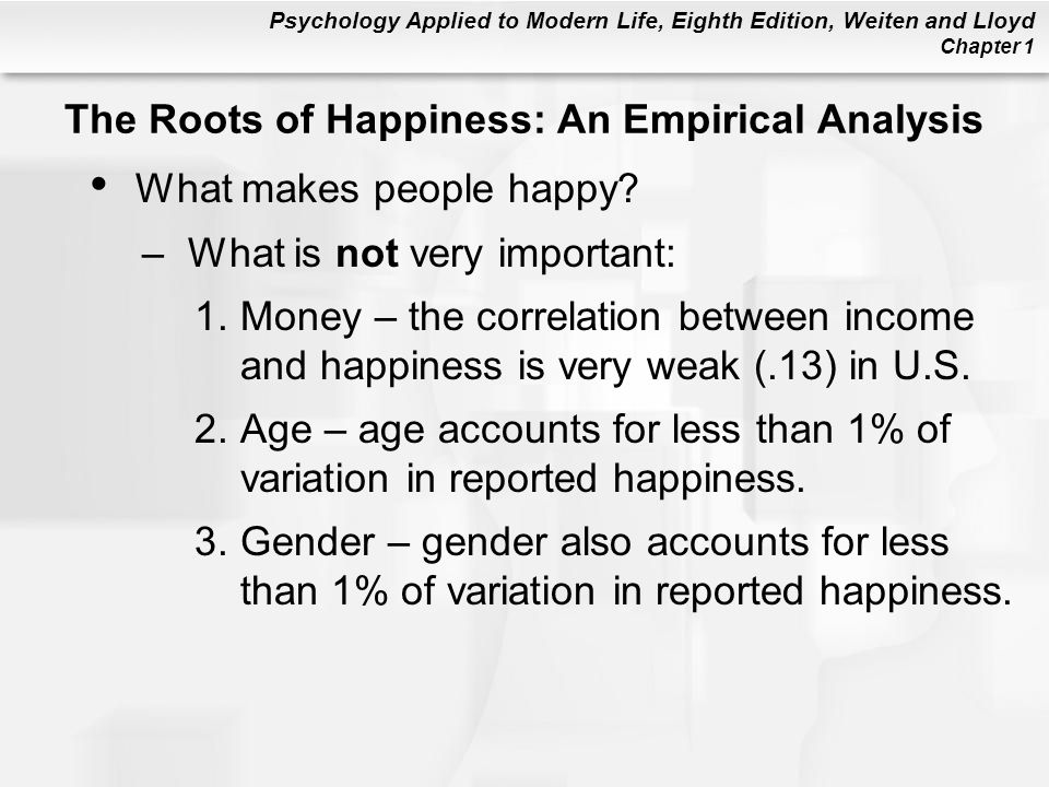 The Roots of Happiness: An Empirical Analysis