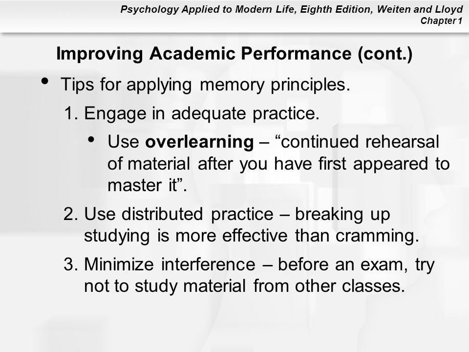 Improving Academic Performance (cont.)