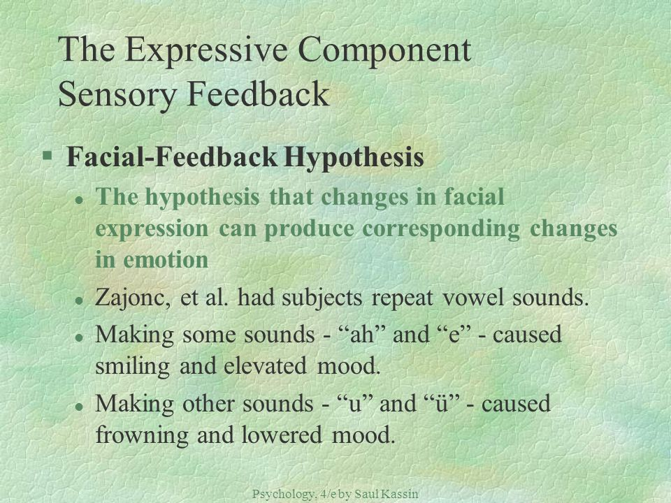 The Expressive Component Sensory Feedback