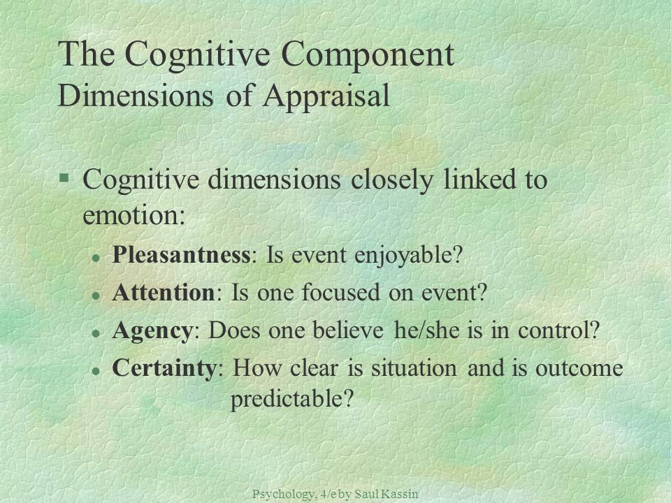 The Cognitive Component Dimensions of Appraisal