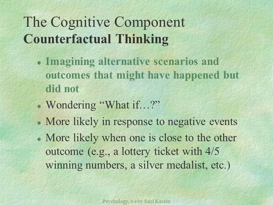 The Cognitive Component Counterfactual Thinking