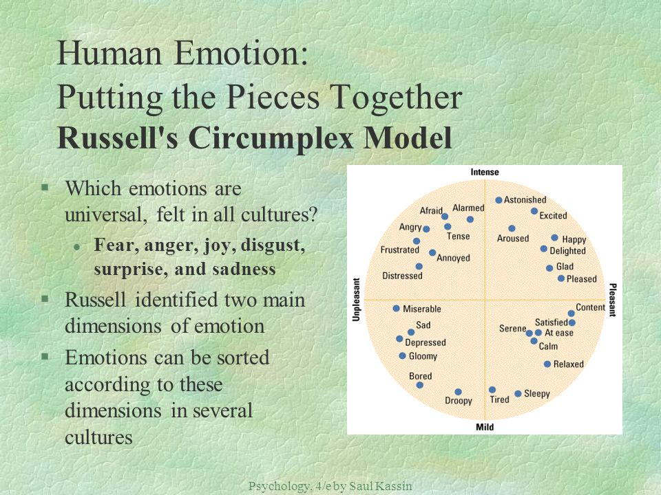 Human Emotion: Putting the Pieces Together Russell s Circumplex Model