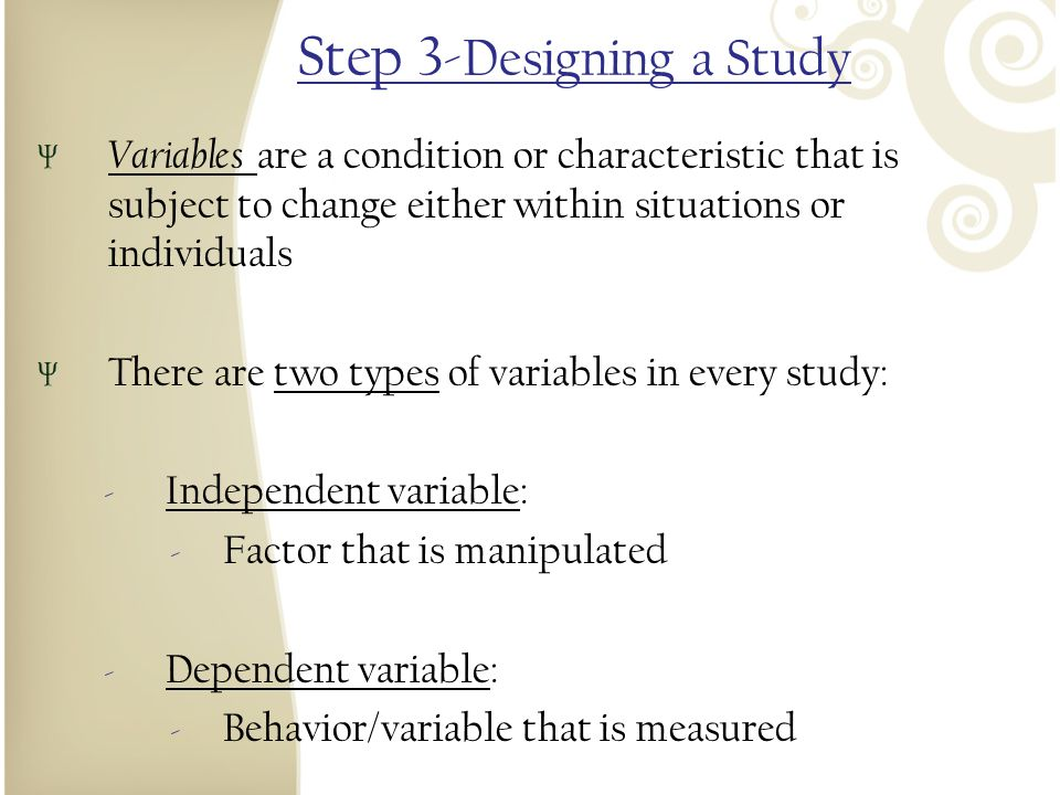 Step 3-Designing a Study