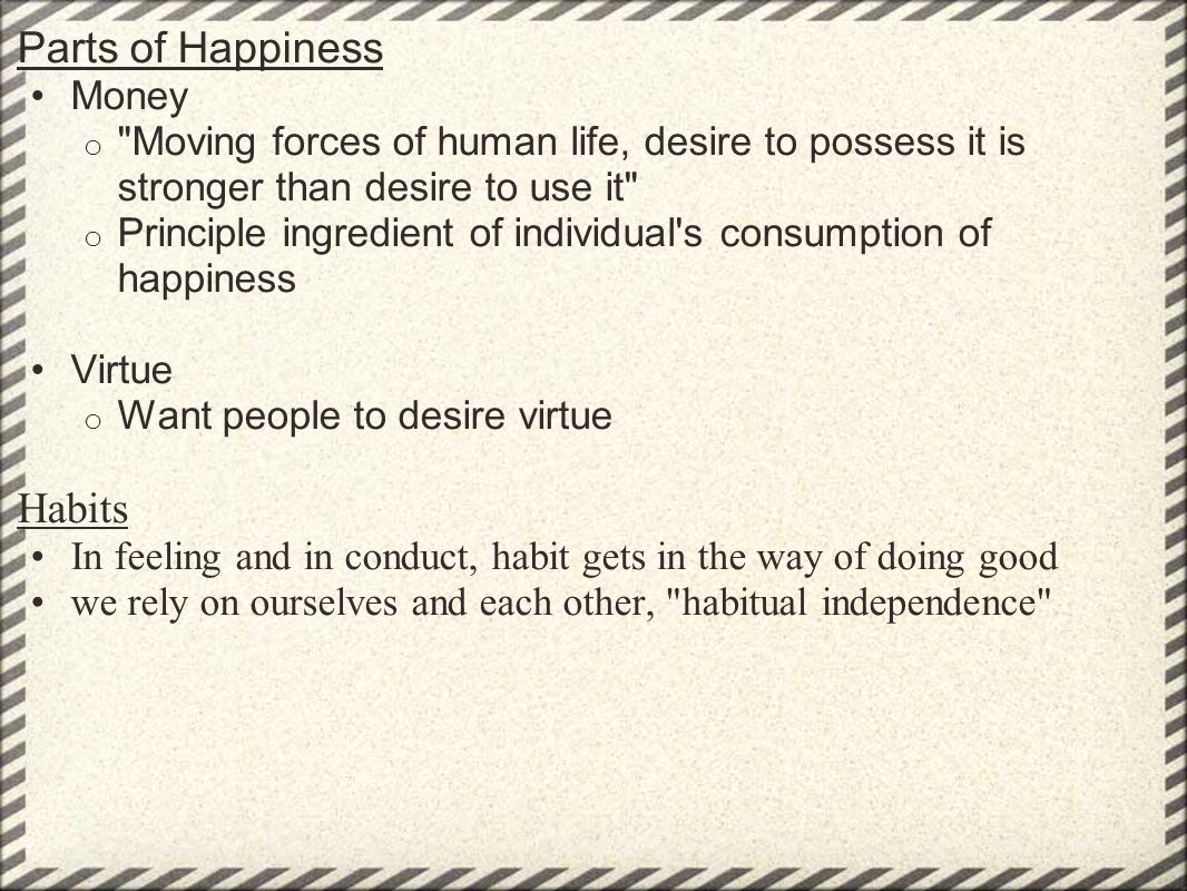 Parts of Happiness Habits Money