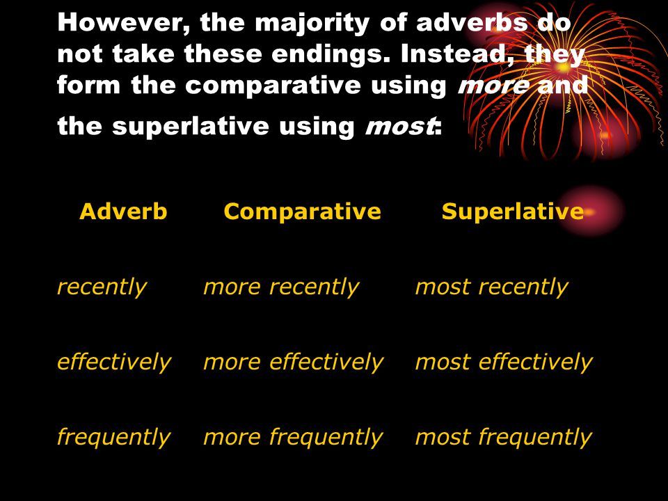 However, the majority of adverbs do not take these endings