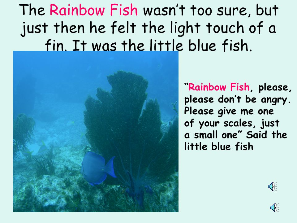 The Rainbow Fish wasn't too sure, but just then he felt the light touch of a fin. It was the little blue fish.
