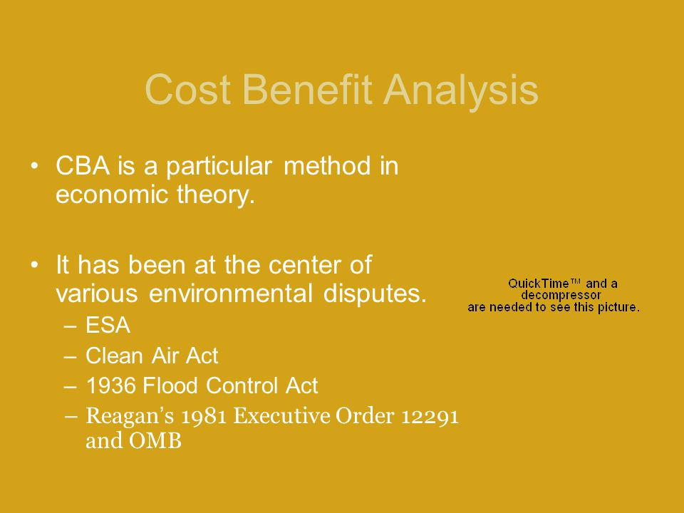 Cost Benefit Analysis CBA is a particular method in economic theory.