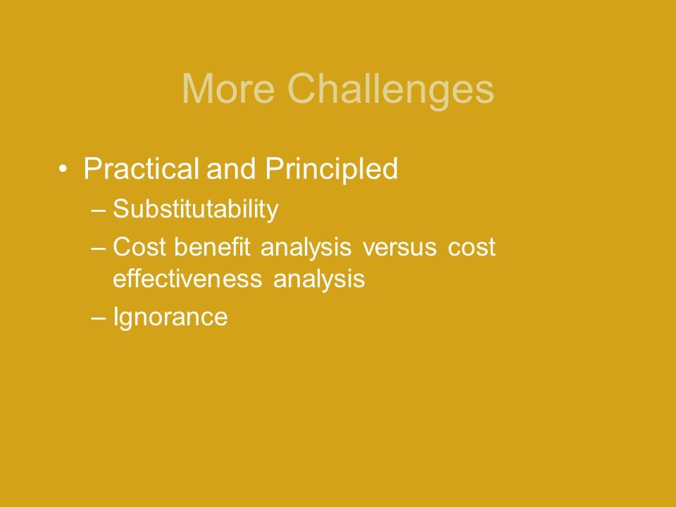 More Challenges Practical and Principled Substitutability