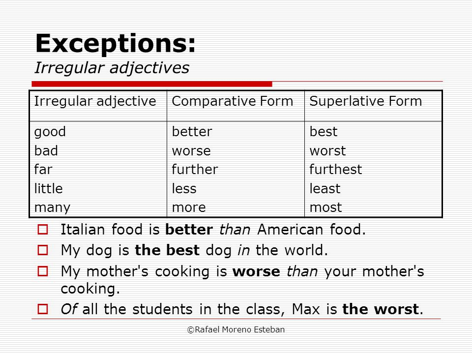 Exceptions: Irregular adjectives