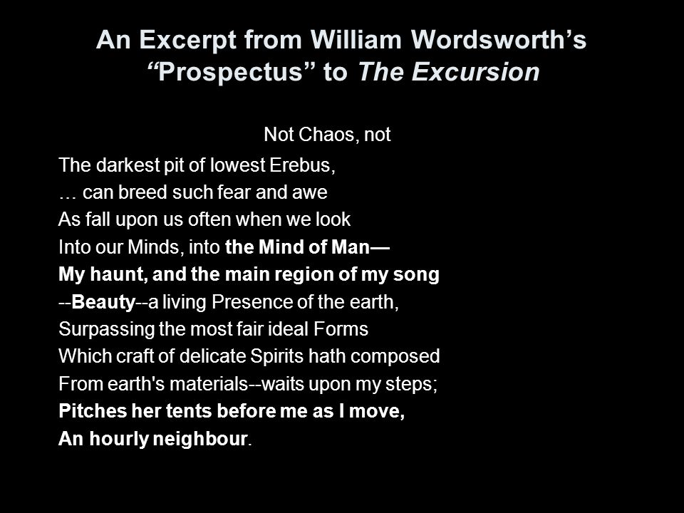 An Excerpt from William Wordsworth's Prospectus to The Excursion