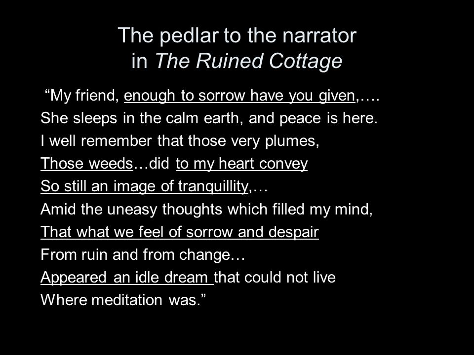 The pedlar to the narrator in The Ruined Cottage