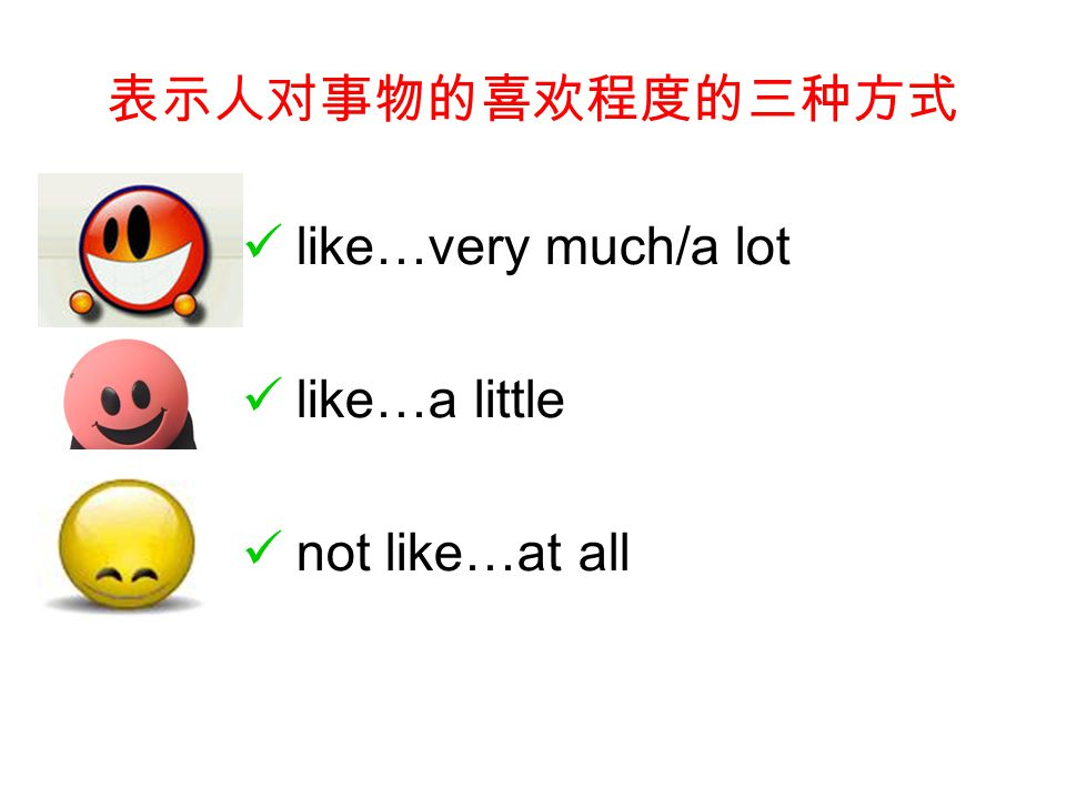 表示人对事物的喜欢程度的三种方式 like…very much/a lot like…a little not like…at all