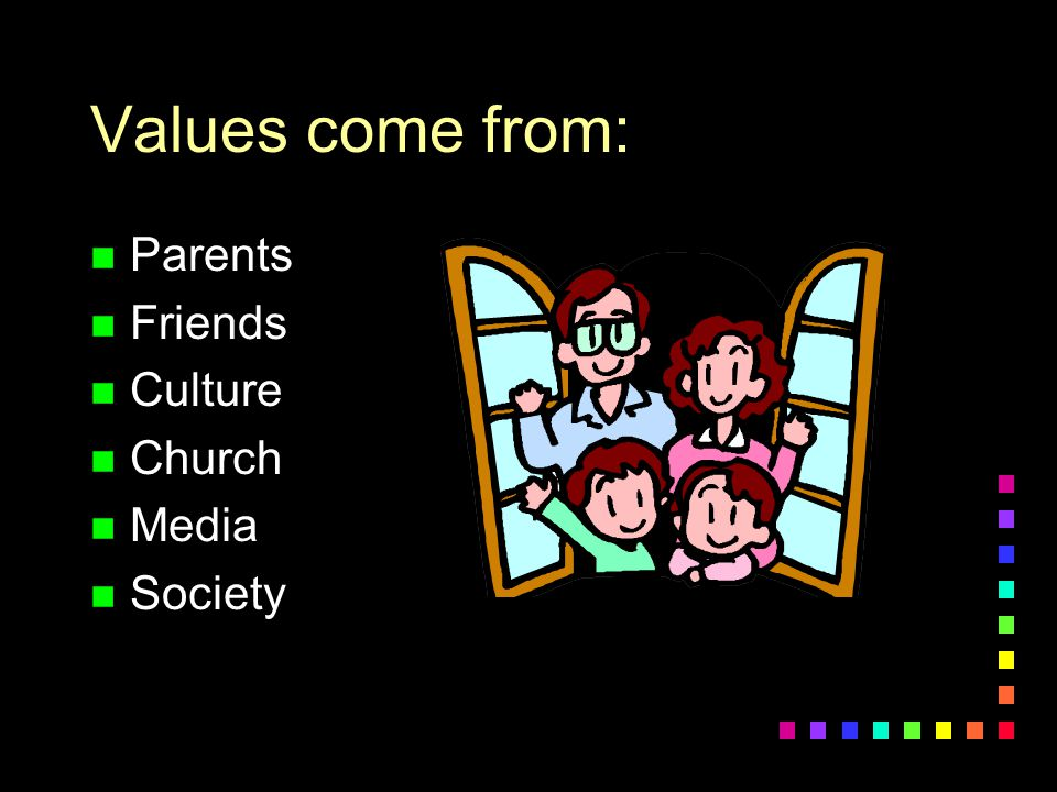 Values come from: Parents Friends Culture Church Media Society