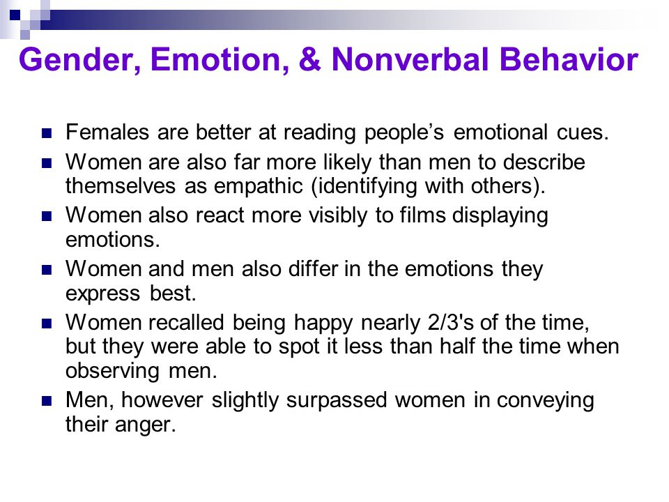 Gender, Emotion, & Nonverbal Behavior