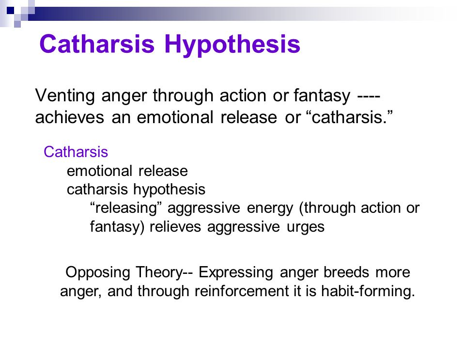 Catharsis Hypothesis Venting anger through action or fantasy ----achieves an emotional release or catharsis.