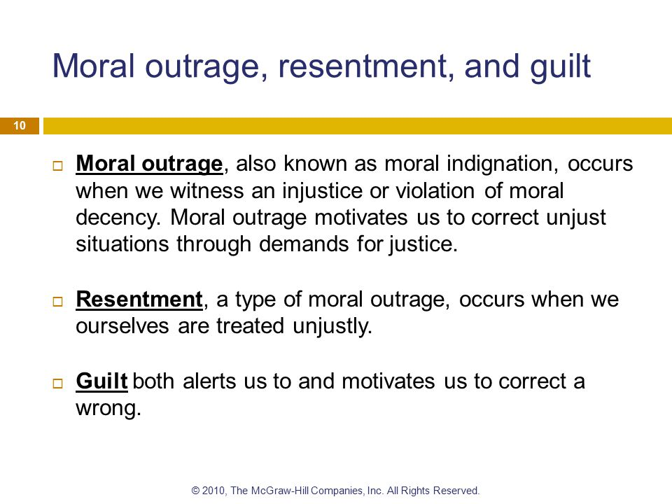 Moral outrage, resentment, and guilt