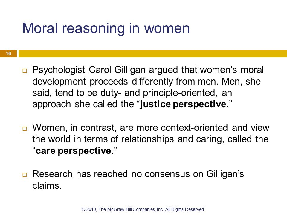 Moral reasoning in women