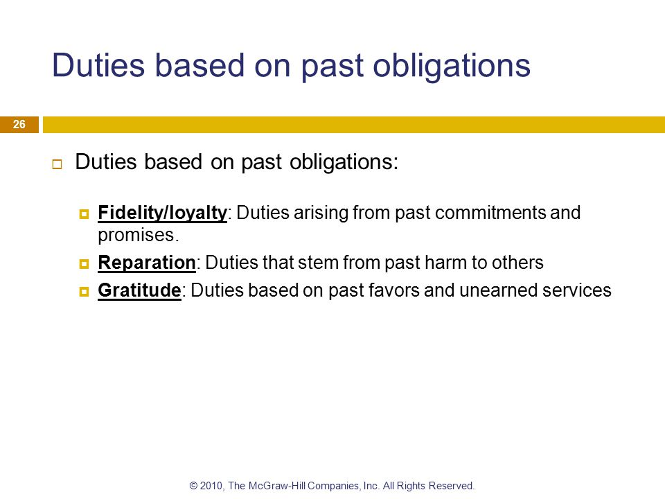 Duties based on past obligations
