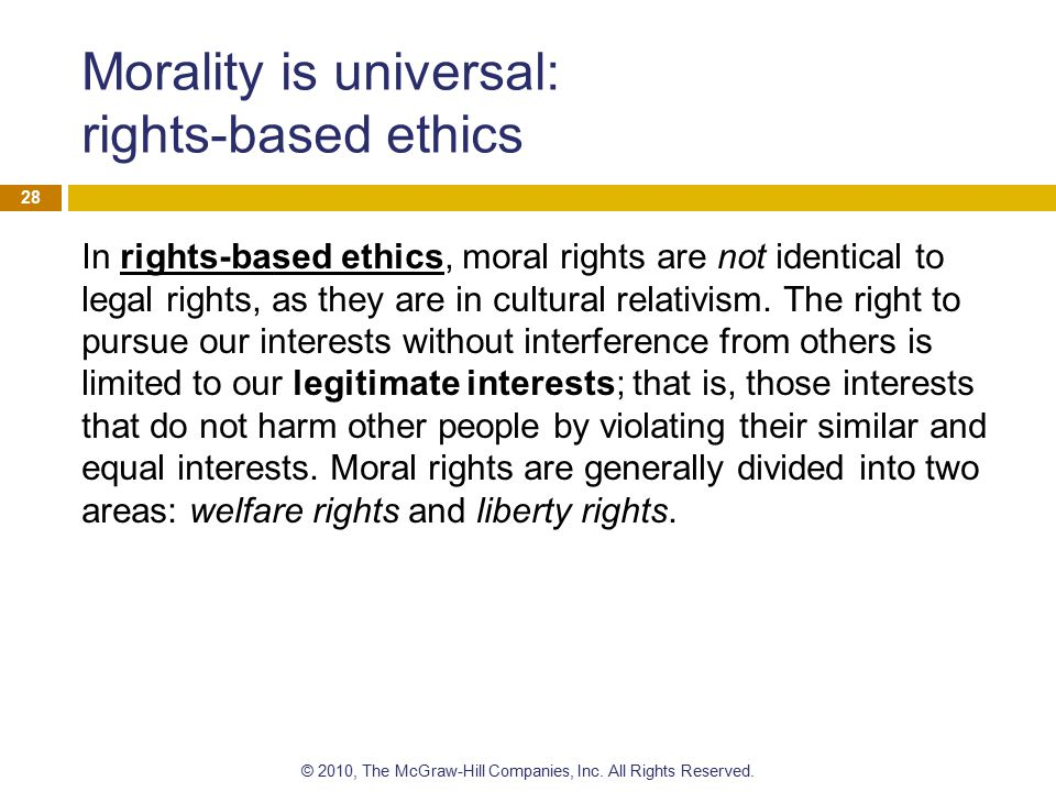 Morality is universal: rights-based ethics