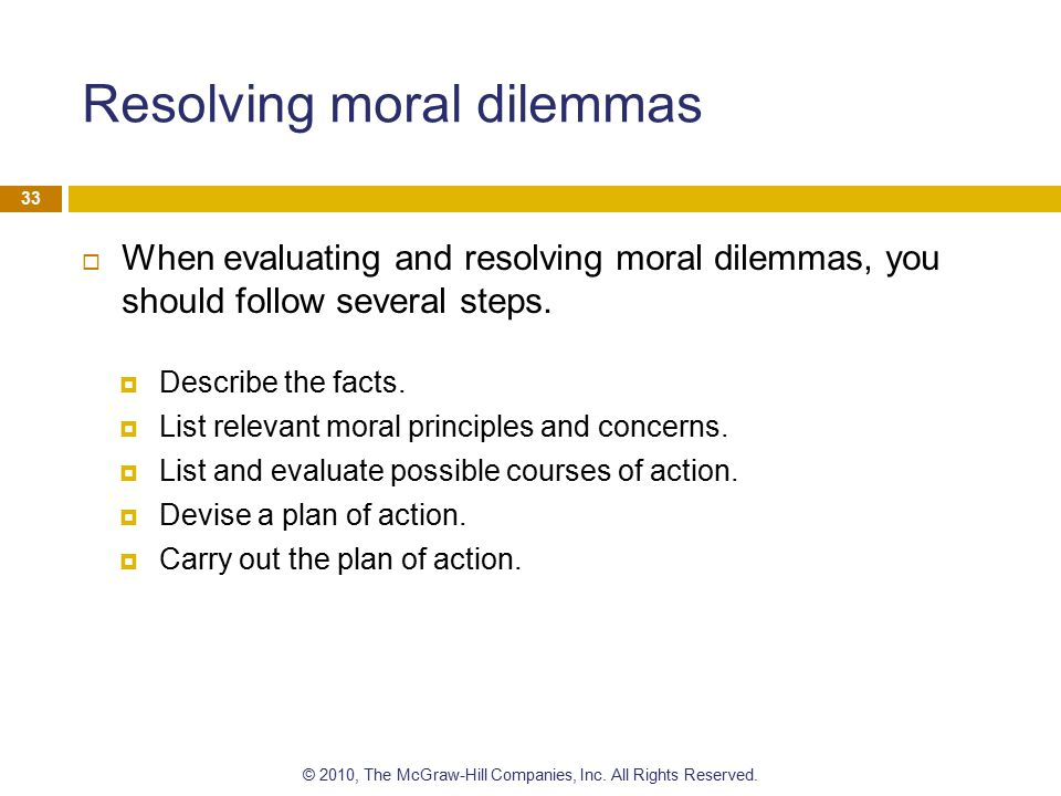 Resolving moral dilemmas