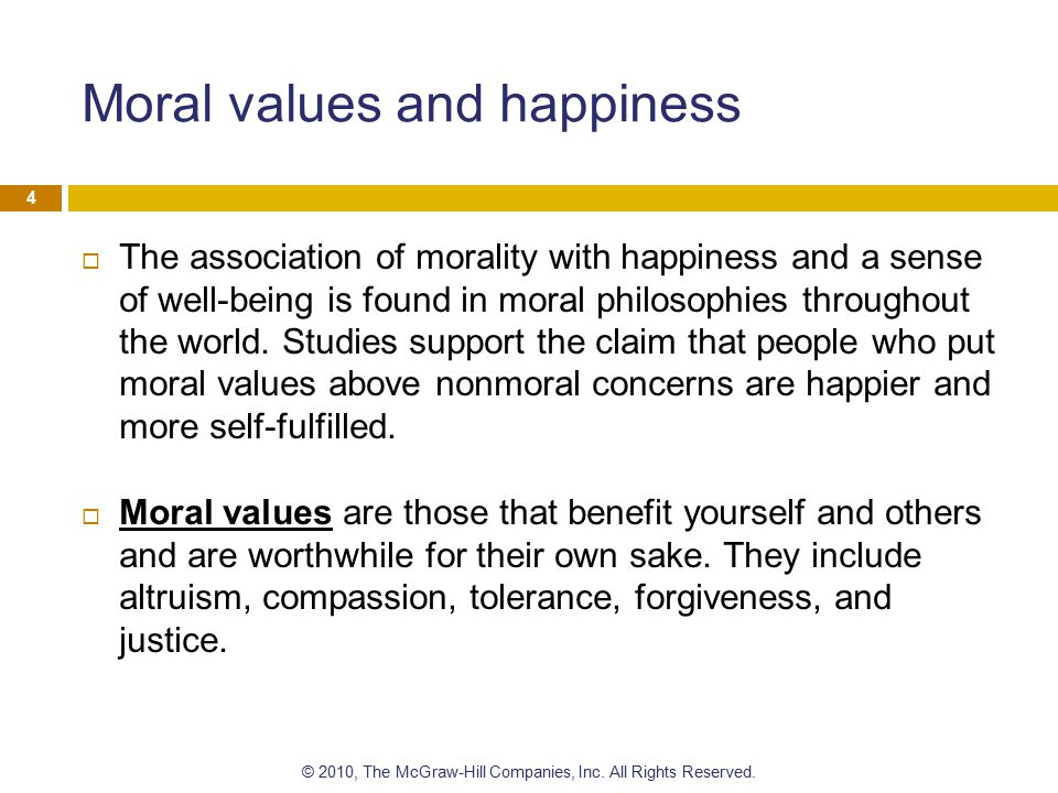 Moral values and happiness