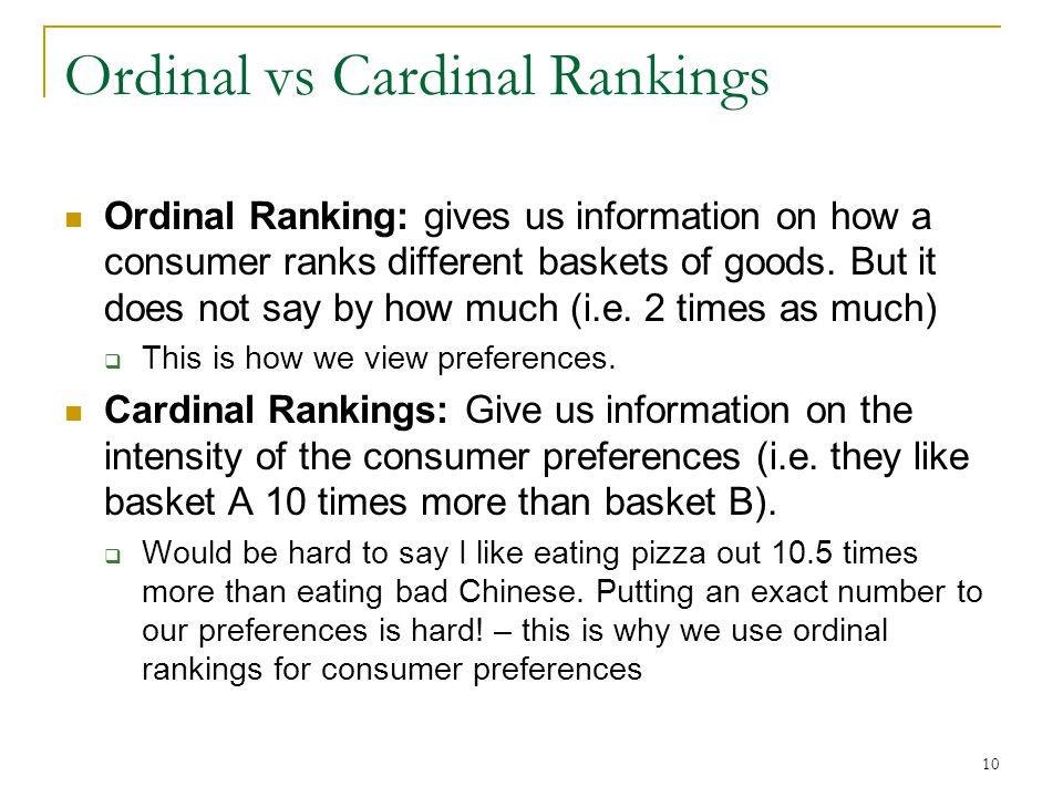 Ordinal vs Cardinal Rankings