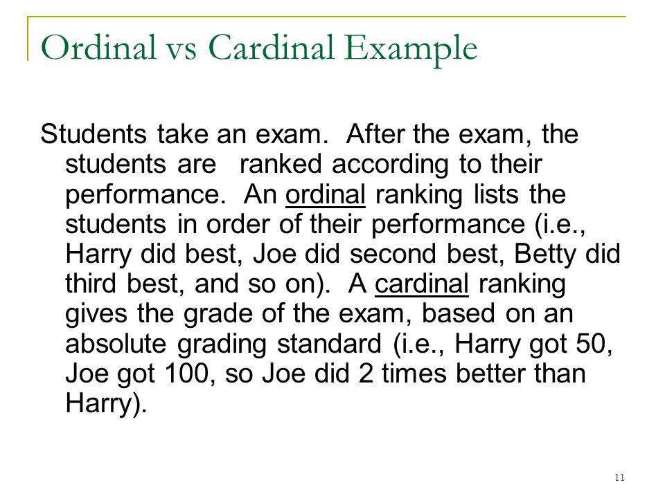 Ordinal vs Cardinal Example