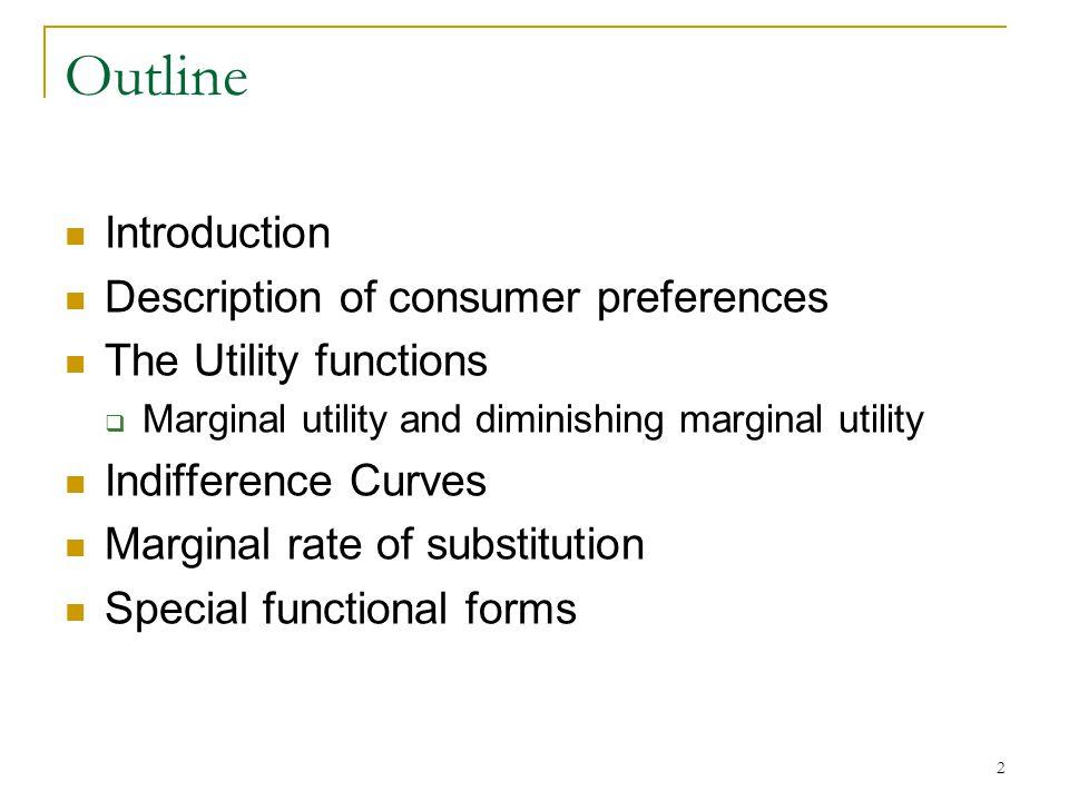 Outline Introduction Description of consumer preferences