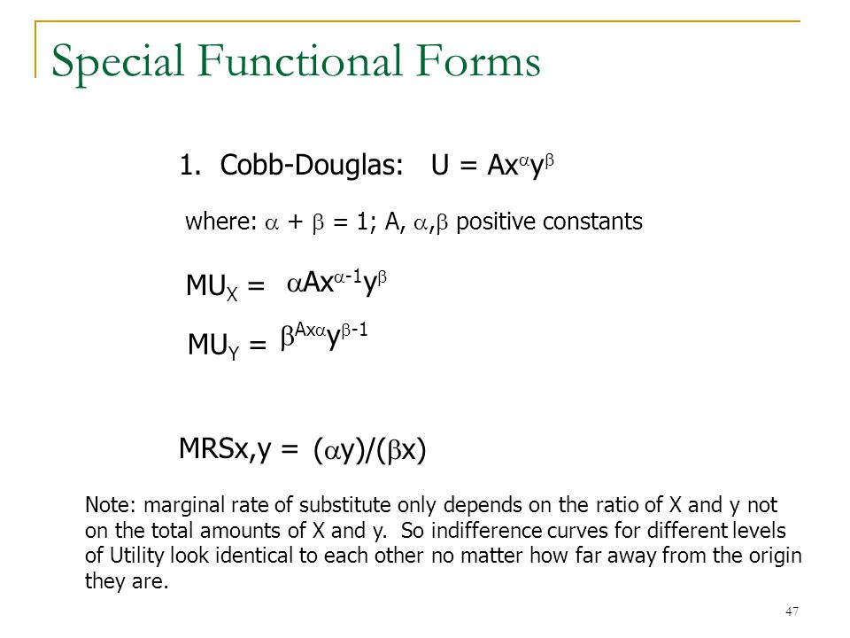 Special Functional Forms