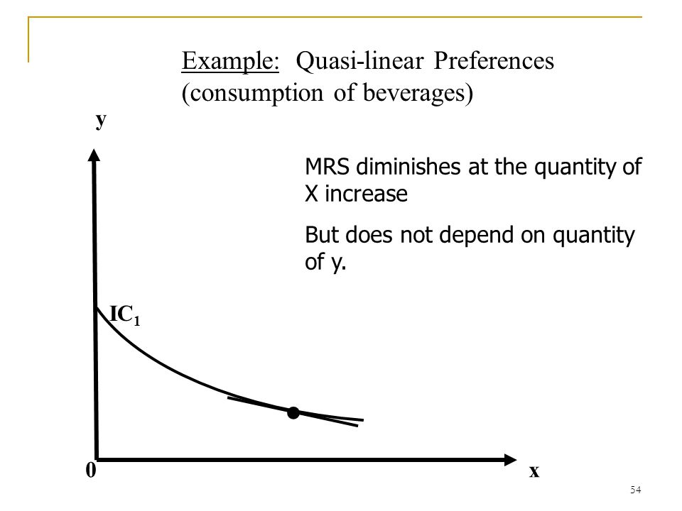 • Example: Quasi-linear Preferences (consumption of beverages) y